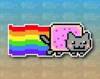 "Nyan Cat Rainbow Meme Funny 8"" Nerd Custom Vinyl Decal Sticker JDM"