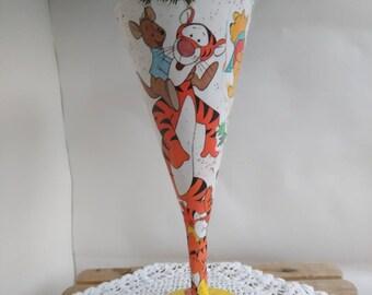 Tigger, winnie the pooh upcycled Disney decaupauge decorative glass