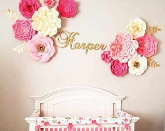 12 piece nursery paper flowers