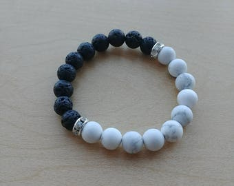 Matte Howlite and lava stone diffuser healing bracelet 8mm
