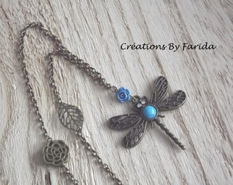 Necklace in bronze with a bronze Dragonfly with turquoise heart, a blue rose