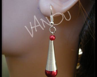 Earrings with spiral and Red Pearl