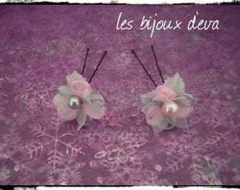 2 grey flowers and pink spikes and glass pearl beads