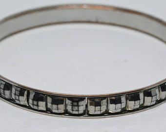 Silver tone and crystals bangle bracelet