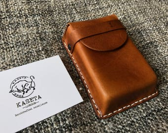 Leather 20 Cigarette Packet Case, Business/Bank Card Holder 'Burned Tan' - Kaseta