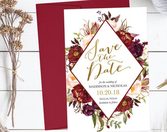 Printable Wedding Save The Date Cards Editable Template, Destination Modern Floral PDF DIY Save-The-Date Invitation Instant Download,