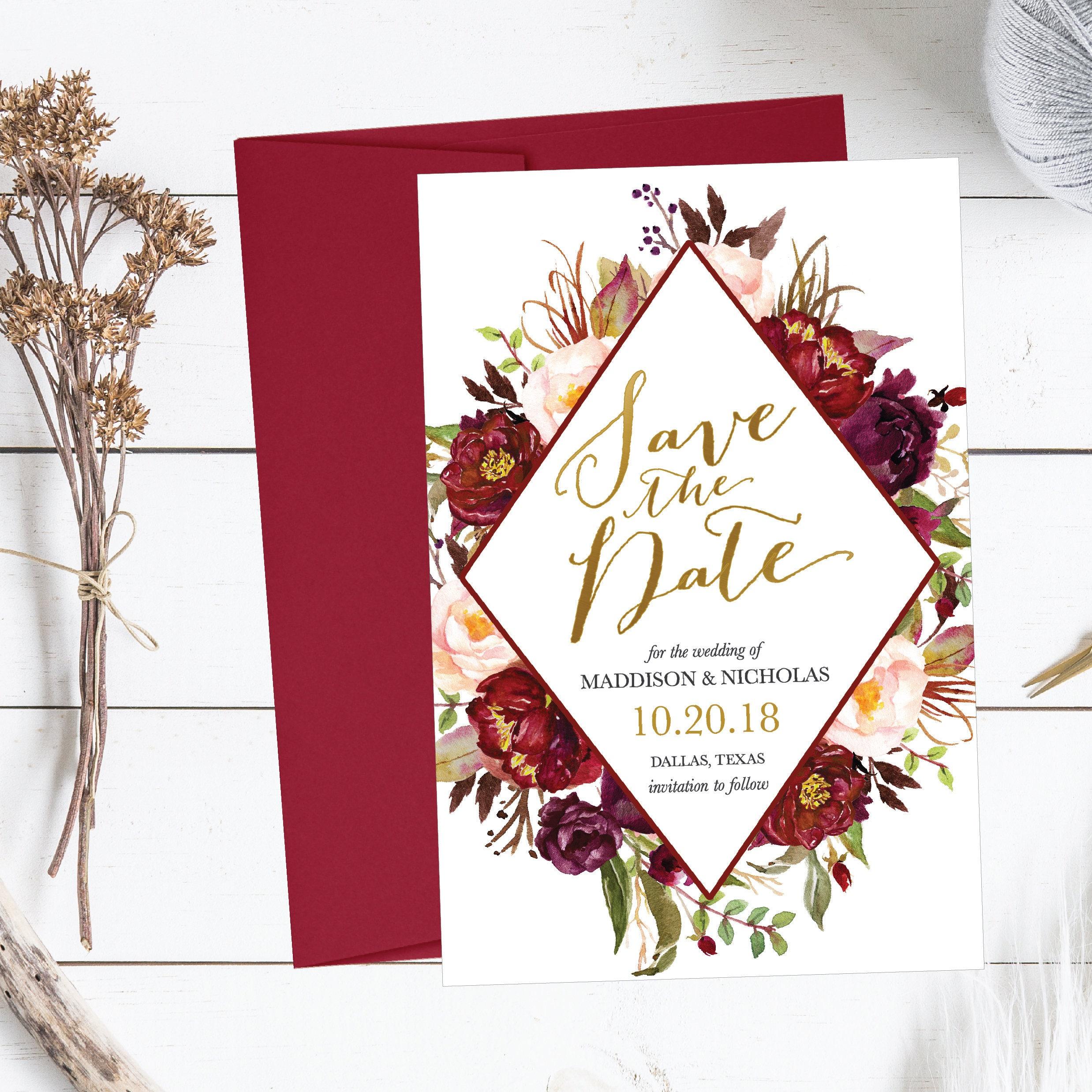 Printable Wedding Save The Date Cards Editable Template, Destination ...