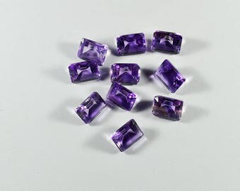 Natural Purple Amethyst Gemstone Faceted Rectangle Shape 4 Pieces Lot Untreated Purple Gemstone MM04
