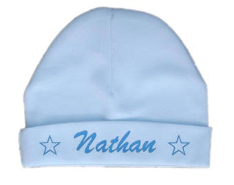 Baby bonnet with blue birth, name