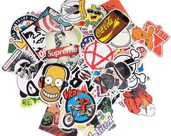 Sticker Pack - Awesome Assortment of Random Stickers Decals Skateboard Sticker Bombing - Vinyl Waterproof Laptop Bike Sticker Collection