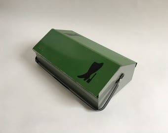 MEWA Wilhelm Kienzle Green Metal Tool Box, Shoe Cleaning Box, Desk Organiser, Storage Caddy, 1950s Mid Century Modern - Perfect Gift