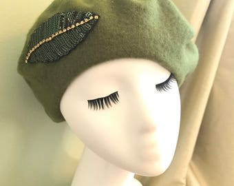 Green Wool Beret with Leaf Sequin Detail