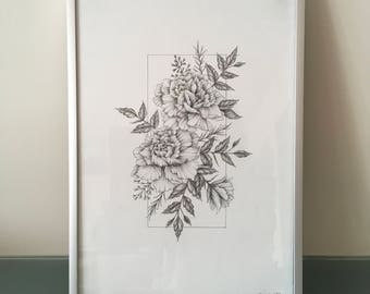 Carnation Original Ink Drawing