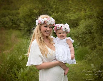 Mommy and Me Flower Crown, Baby Flower Crown, Adult Flower Crown, Flower Girl Flower Crown, Floral Crown, Tieback Flower Crown Headband