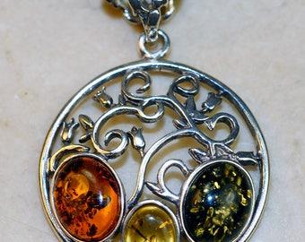 Green, Lemon, Cognac Baltic Amber set in Solid 925 Sterling Silver Pendant