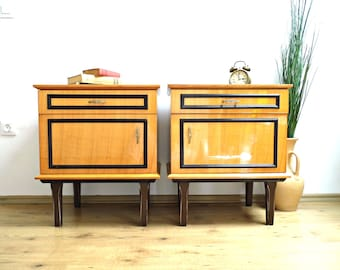 Pair Vintage Nightstand Mid Century Furniture Wood End Side Table Bedside Coffee Table Vanity Wooden Cabinet Night Stand Chest of Drawers
