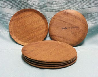 Vintage Molded Walnut Coasters - Set of 6 - Made in Sweden - FREE SHIPPING!