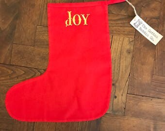Red Stocking Embroidered Joy Stocking Cotton Stocking Medium Socking Small Stocking Socking Gift Bag