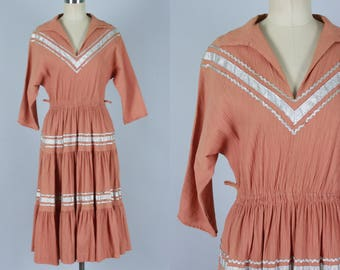 Vintage 1950s Dress | Terracotta Patio Dress with Silver Trim | Extra Small / Small