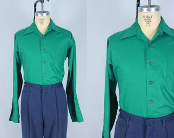 Vintage 1960s Men's Shirt | Green Button Up Shirt with French Cuffs | Medium