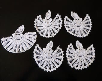 Five vintage hand crocheted Victorian crinoline ladies