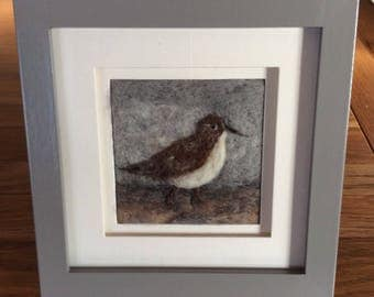 Sandpiper wading bird needle felted fibre art picture. Our sandpiper is needle felted from Shetland and Gotland wools onto linen