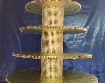 GOLD CUPCAKE STAND 5 Tiers Featuring Gold Rhinestones 12 Color Selections