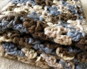 Super Soft Blanket - Throw Blanket - Shower Gift - Crochet Blanket - Lap Blanket - Earth Tones Blanket - Blue & Brown Blanket - Boy Blanket
