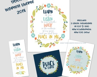 LDS Young women theme 2018 bundle pack / YW theme 2018 bookmark, print and card bundle / YW theme printable 2018