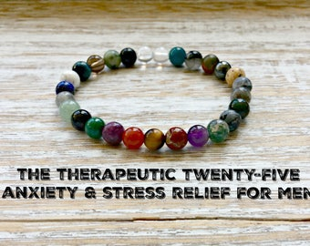 The Therapeutic Twenty-Five Anxiety Relief Bracelet for Men, 6mm Healing Crystals Children, Stress Relief, Inner Peace-Soothing-Relaxation