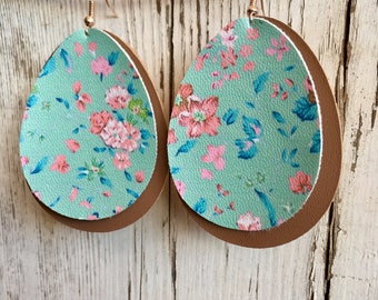 Teal Floral & Tan Leather Layered Earrings