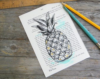 Pineapple Print, Dictionary Art, Black And White Poster, Art & Collectibles, Recycled Paper, Hipster Room Decor, Housewarming Gift, Book Art