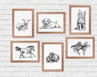Kids Wall Art, Set of 6 Printables, Farmhouse Animals Prints, Printable Wall Art, Pets Print, Transfer Images, Craft Supplies, Nature Prints