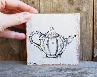 Miniature painting, Antique teapot print, Rustic wood signs, Kitchen decor, Hostess gift, Retro decor