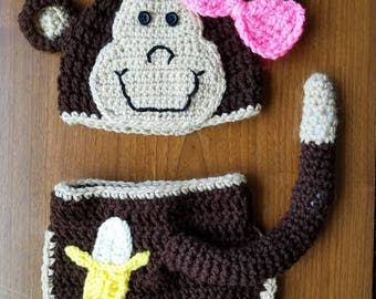 Crochet Monkey Hat and Diaper Cover