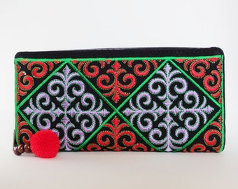 Handmade embroidered zip around wallet [Red/Green/Purple]
