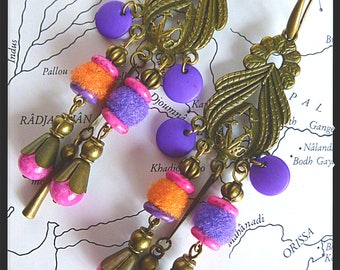 "Bohemian earrings ""Kathmandu"" tassels and glass beads purple, fuchsia and orange, bronze, Hippie - chic"