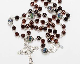 Amber Australian Fire Opal Catholic Women's Rosary - Sterling Silver, Ornate Crucifix - Handmade Heirloom Rosaries, Custom Gift For Her