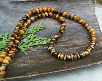 Men's Tiger Eye Necklace, Brown and Gold Beaded Unisex Necklace, Golden Brown Tigereye Stone Necklace, Elegant, Sophisticated, Gift Idea