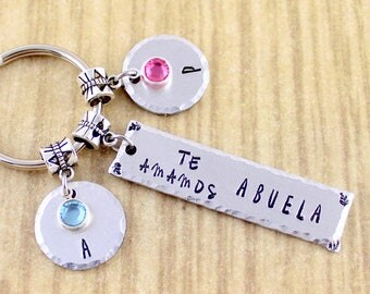 Personalized Te Amamos Abuela Keychain || Grandma Keychain In Spanish Also Available In English || Please Read Ordering Instructions SRAAK
