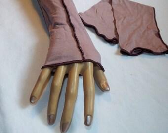 Ethnic long purple fingerless gloves arm warmers