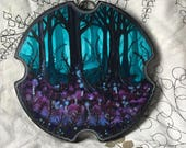 Fantasy Landscape Painting in Acrylic on a Homemade Wooden Plaque by Heather Shinn
