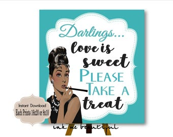 DIGITAL FILE Love is Sweet please Take a Treat, Candy Bar Sign,  Baby and CO,  Babyshower, Bridal Shower, Welcome Sign