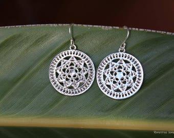 Silver Mandala Boho Earrings. Bohemian earrings. Sacred Geometry Earrings. Silver earrings. Flower earrings. Gift for her.