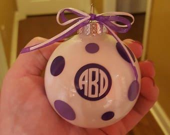 Monogrammed Ornament, Circle Monogram Ornament,  Polka Dot Ornament, Personalized  Ornament, Monogrammed Ornament