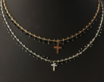 Black cross and gold seed bead chain necklace gold plated