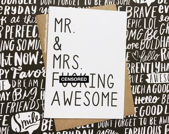 Funny Wedding Card - Congrats Wedding Card - Mr. & Mrs. F-ing Awesome - Funny Wedding Card. Wedding Day Card. Newlywed Card.