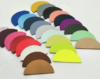 """Leather Half Circles, 50 mm.(2""""), 50 pcs., (25 Pairs) Mixed Colors, Half Circles Die Cut, Half  Circles Shape, Half Circles Cut Outs."""