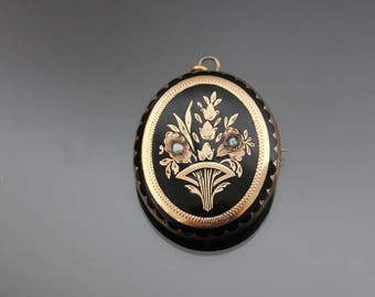 Victorian Mourning Engraved Enamel Locket. 14k Gold Front, Silver 900. Antique Photo Pendant Brooch. Seed Pearls