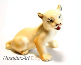 Lion cub porcelain figurine,  statue